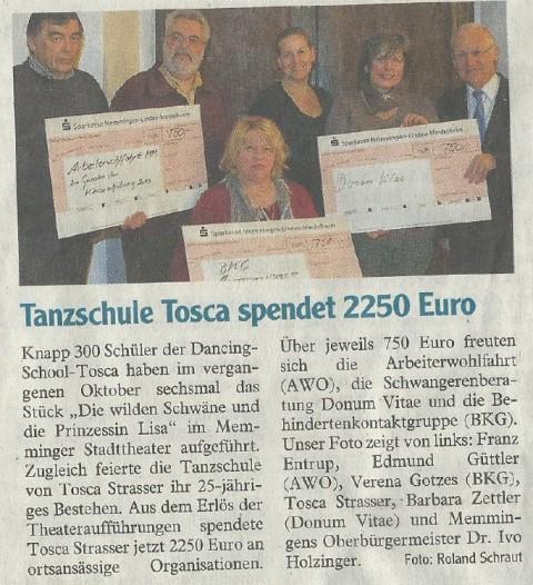 Tanzschule Tosca spendet 2.250EUR