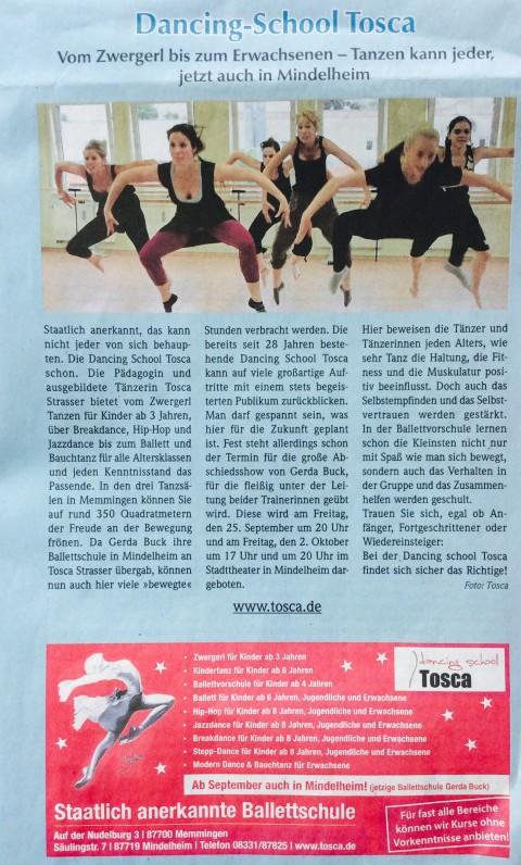 Zeitungsartikel über Dancing School Tosca im Mindelheimer Kurier